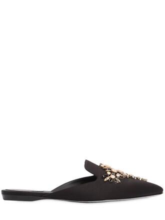 embellished mules satin gold black shoes