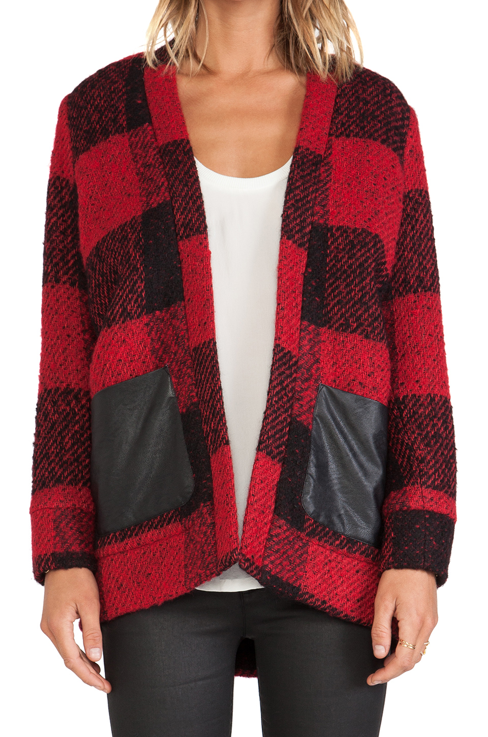 Greylin mason wool plaid jacket in crimson from revolveclothing.com
