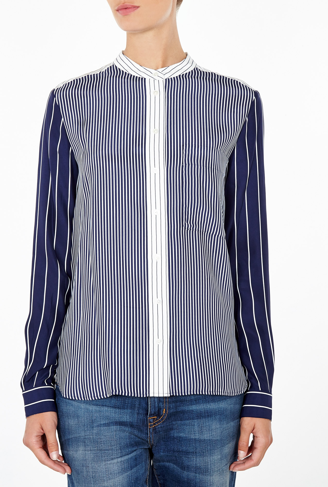 Pinstripe Collarless Shirt by Joseph