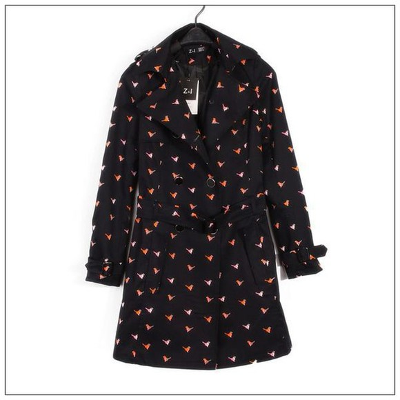coat fashion trench coat vintage style bird print retro cute