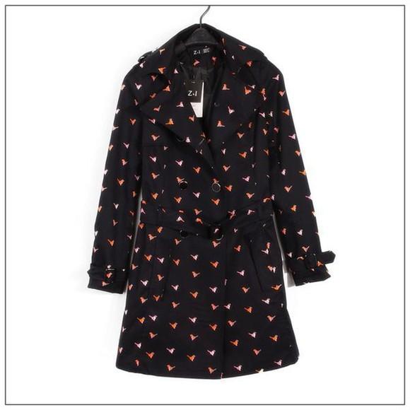 vintage fashion retro cute bird print trench coat style coat