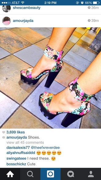 shoes cute pink amourjayda cute shoes floral shoes floral print shoes cute high heels high heels yellow orange