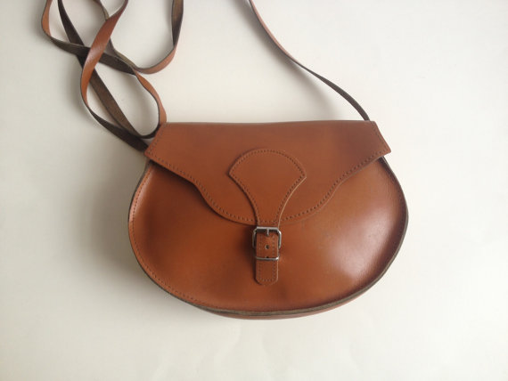 Vintage 70's Brown Leather Satchel Bag/ Brown by Tukvintage
