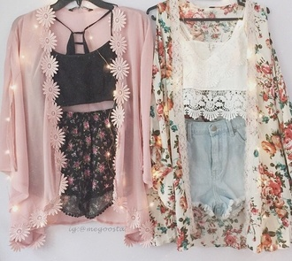 cardigan pink cute lace light white black shorts pair outfit tumblr outfit tumblr shorts tumblr where to get this top where to get shoes top floral cute outfits nice summer outfits