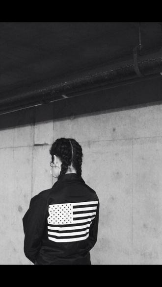 jacket black black jacket white black and white american flag shirt america braid streetwear style urban