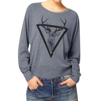 sweater deer grey fashion style long sleeves trendy casual fall outfits musheng