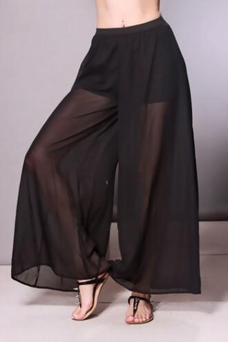 pants chiffon palazzo pants cut-out long sexy mesh shorts chiffon pants elegant chic wide leg wide-leg pants forever 21 h&m black