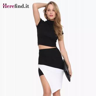 skirt black skirt colorblock skirt black and white high waist skirt asymmetric skirt short skirt colorblock shirt