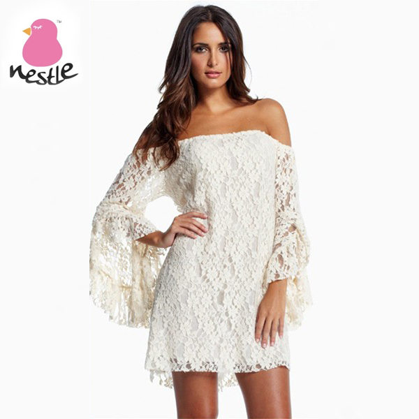 2013 Fashion New arrival Cream Lace Off The Shoulder Mini Dress White Summer Casual Dress for Women-in Dresses from Apparel & Accessories on Aliexpress.com