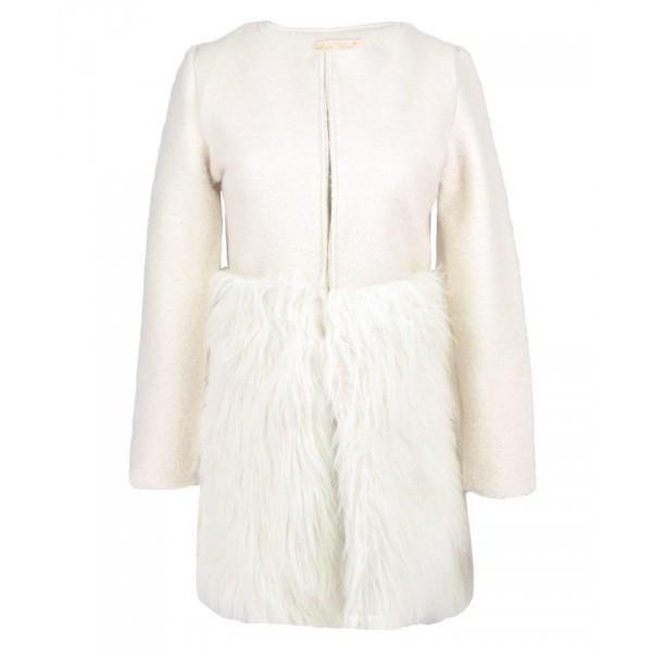 Faux fur trimmed coat