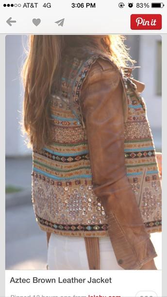 jacket brown aztec