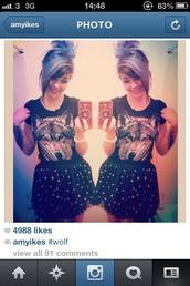skirt,skaterskirt,suspenders,braces,mini skirt,polka dots,black and white,skirt with suspenders,wolf