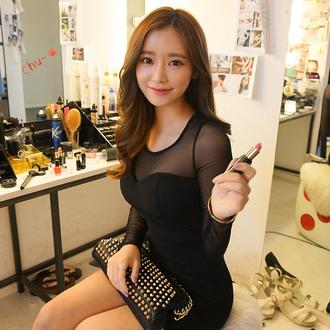 dress deep v deep v dress see through see through dress curvy plus size dress korean fashion korean style ulzzang sexy sexy dress
