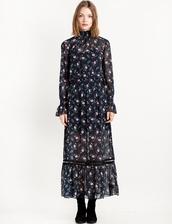 dress,tallulah floral maxi dress,maxi dress,boho,floral dress,bell sleeve dress,chiffon dress,high neck dress,long dress,pixie market,boho chic,boho dress,floral,bell sleeves,cute dress,romantic