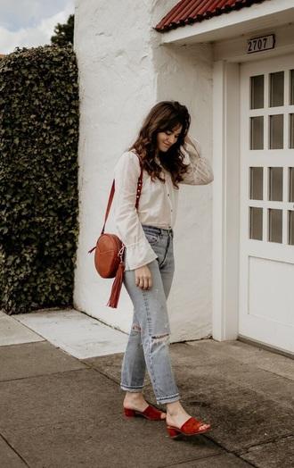 bag round bag brown bag shoes mules white shirt blue jeans suede jeans denim