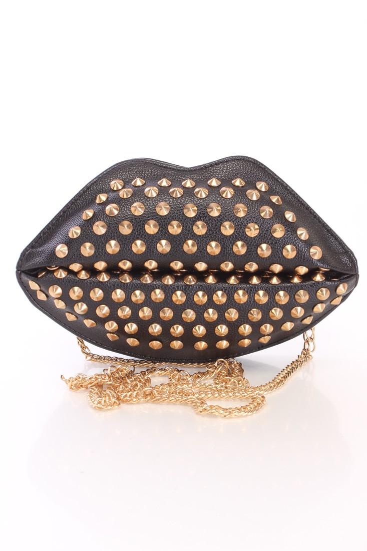 Black Faux Leather Studded Lip Clutch Handbag