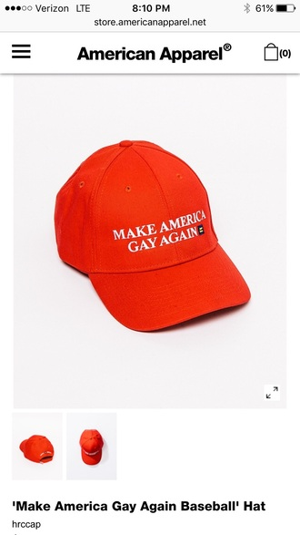hat red tumblr tumblr girl tumblr clothes tumblr outfit baseball cap statement tees gay pride cap american apparel