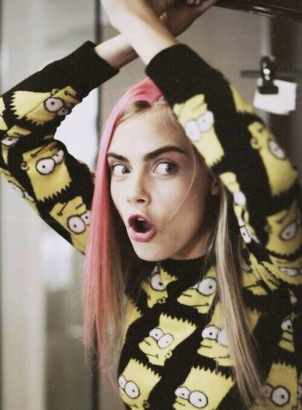cara delevingne victoria's secret shirt cara cool girl style sexy girly victoria's secret model cute eyebrows fashion sweater bart simpson the simpsons pink delevingne eyes celebrity style