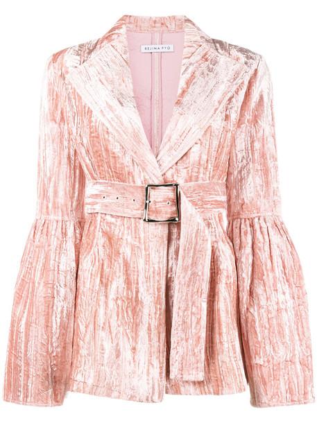 Rejina Pyo blazer women crushed velvet velvet purple pink jacket