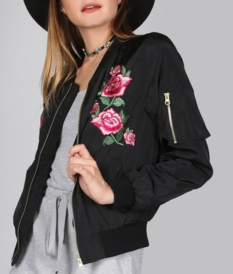 jacket embroidered girly black bomber jacket black bomber jacket floral flowers