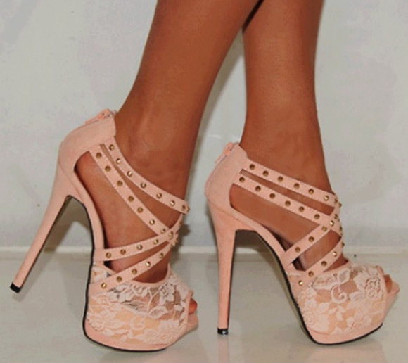 shoes soft adorable pink high heels lace high heels nude high heels nude sandals