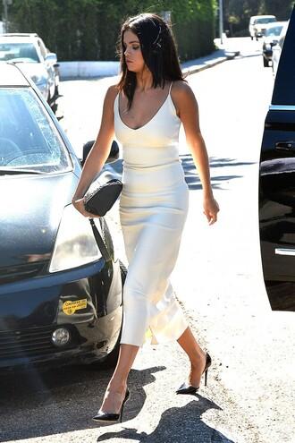 dress midi dress white dress summer dress selena gomez pumps sexy dress