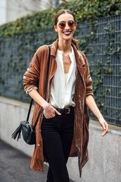 lefashion,blogger,jacket,blouse,coat,tumblr,velvet,brown coat,brown,shirt,white shirt,jeans,black jeans,belt,bag,black bag,tassel,shoulder bag,sunglasses,round sunglasses