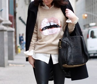 sweater ifchic lips streetstyle leather leggings black leggings leggings bucket bag black jacket button up pants jacket
