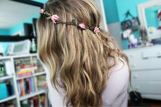jewels rose flower hair girl pretty floral headband