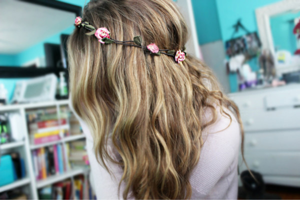 jewels rose flowers hair girl pretty floral headband