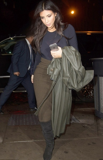 skirt pencil skirt coat kim kardashian top