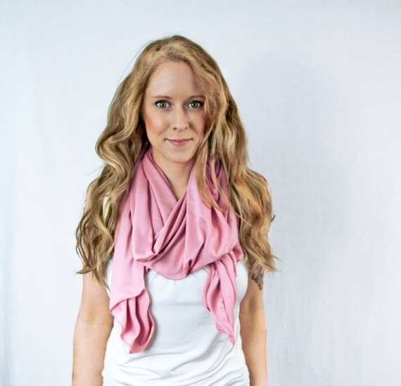 Mauve Pink Scarf SALE Fashion Infinity Traditional Lightweight Hair Wrap Head Scarves Light