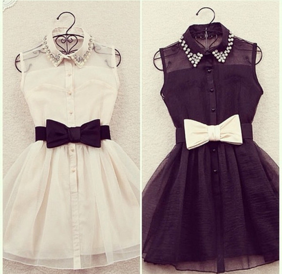 dress white dress little black dress peter pan collar big bow buttonup cute black white ribbon belt pretty adorable edgy transparent little black dress black and white bow bowtie summer bow tie bow tie dress studded collar studded collar dress bow tie belt collar bows rhinestones