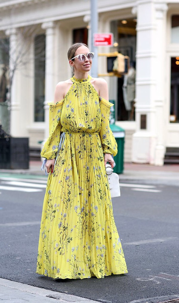 fa651a467a89 dress yellow dress yellow floral floral dress maxi dress long dress  sunglasses pleated dress pleated cut