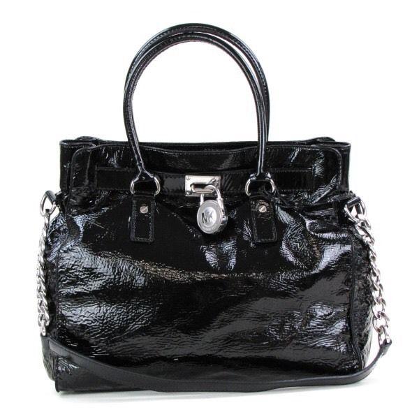 f49791fb014f MICHAEL Michael Kors Black Patent Leather Hamilton Tote