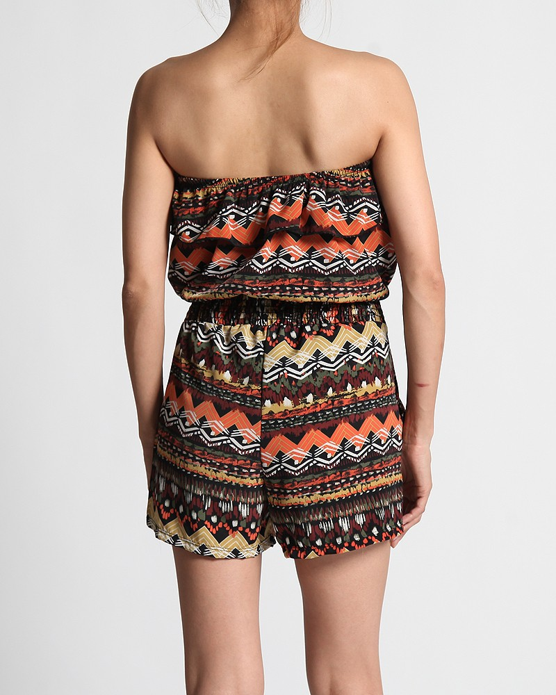 $28.99 Tribal Print Casual CUTE Ruffle Tube Shorts Jumpsuit Straple