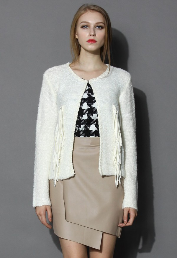 chicwish fringed knit coat ivory coat