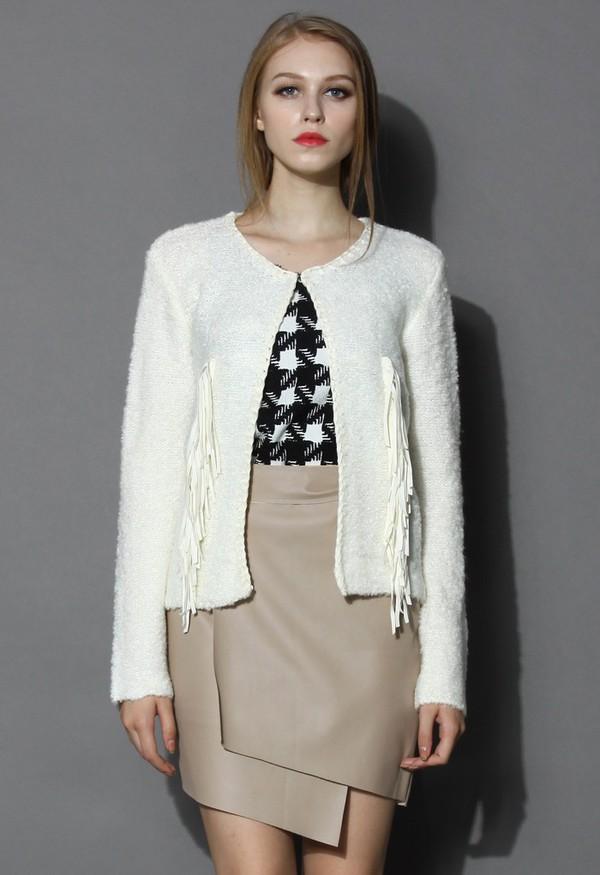 chicwish fringed knit coat ivory coat