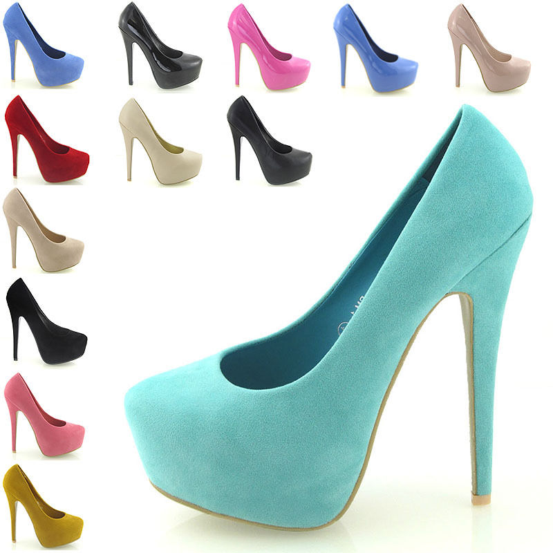 NEW WOMENS PLATFORM STILETTO LADIES HIGH HEEL CLASSIC PUMPS COURT SHOES SIZE 3-8 | eBay