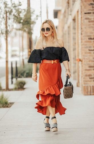 skirt midi skirt red skirt top sunglasses bag wrap ruffle skirt ruffle skirt black top off the shoulder off the shoulder top sandals wedge sandals