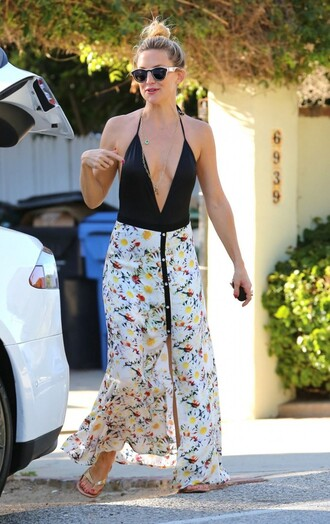 skirt maxi skirt floral kate hudson summer summer outfits top open back