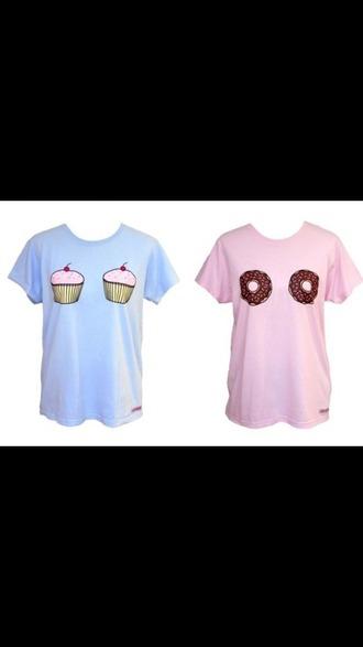 shirt cool shirts cupcakes dounts pink blue peri.marie amazing cute best friend shirts :)