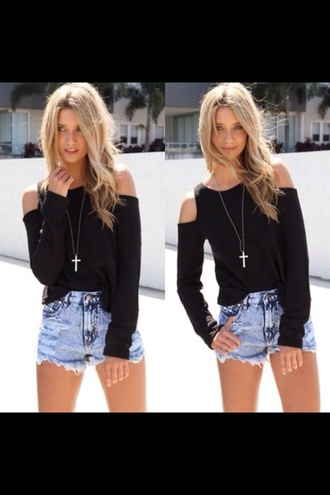 sweater gold sholder off the shoulder top black shorts blue blue shorts high waisted shorts jewels necklace summer off the shoulder sweater long sleeves black top