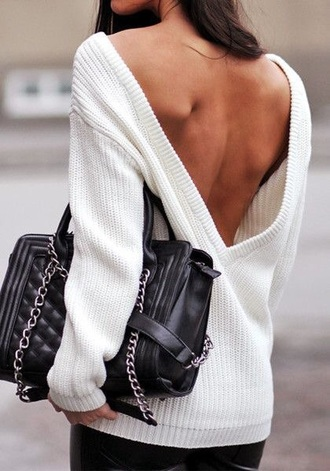 white lowback v neck sweaterstyle bag