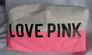 Victoria's secret love pink canvas makeup cosmetic bag beige and pink new