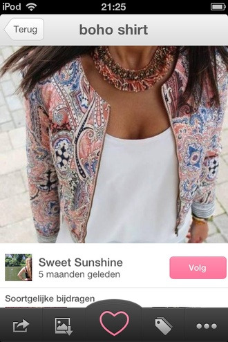 jacket pink white crop tops floral print jacket necklace