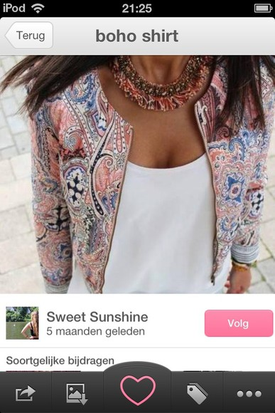 jacket floral print jacket pink white crop tops necklace
