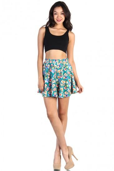 LoveMelrose.com From Harry & Molly | Floral Skater Skirt - Mint