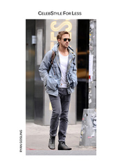 jacket,celebstyle for less,ryan gosling,menswear,mens jacket,grey jeans,sunglasses,mens accessories,white t-shirt,mens jeans,combat boots,grey,t-shirt,jeans,shoes,bag,backpack,mens parka,mens straight jeans