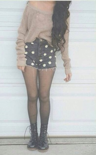 sweater shorts high wasted high wasted polka dots hipster